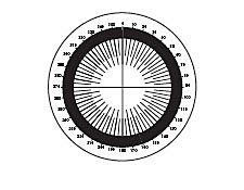 34.70mm Dia., Metric/Degrees Protractor, Contact Reticle