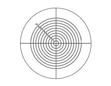 27mm Diameter, Opal Glass Concentric Circles Reticle Target