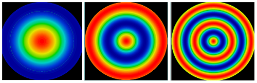 Figure 2: Radial cosine irregularity maps on a 25mm diameter f/2 asphere surface. The cosine periods from left to right are 20mm, 10mm, and 5mm